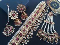 Indian Jewelry Necklace Earrings Bridal Set Hyderabadi Choker Jhumka Tika Jhumka