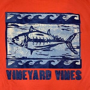 VINEYARD-VINES-Men-s-Pocket-Tshirt-S-S-Woodblock-Tuna-Sz-L-Coral-NEW-With-TAGS