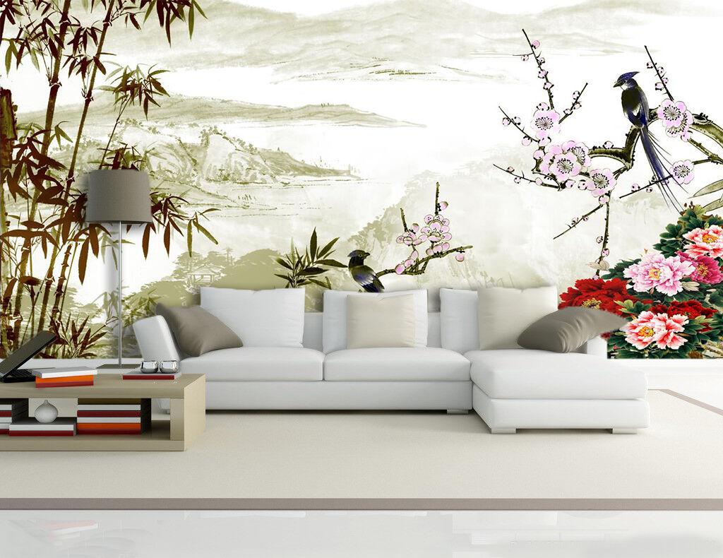 3D Bamboos Flowers Birds 47 Wallpaper Decal Dercor Home Kids Nursery Mural Home