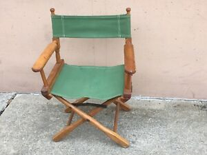 Vintage-Director-Commander-Chair-Mid-Century-Folding-Green-Canvas-Wood-walnut