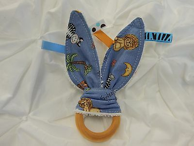 Bazooples Blue 100% Cotton Reputation First Activity Toys Discreet Bunny Ears Teether Taggie