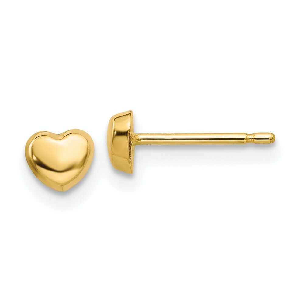 14kt Real Yellow gold Polished Heart Shaped Post Earrings
