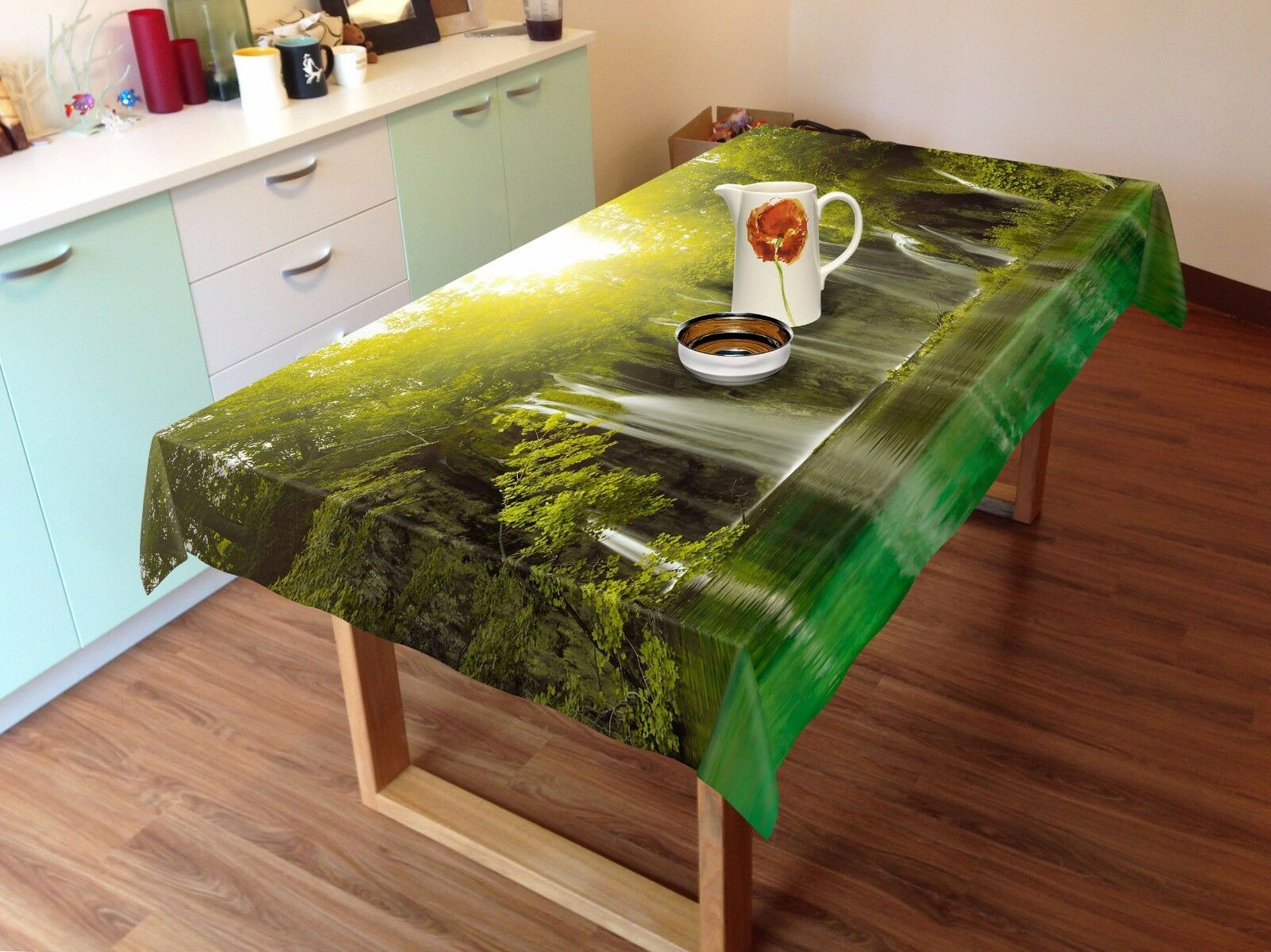 3D Stream Sun Tablecloth Table Cover Cloth Birthday Party AJ WALLPAPER UK Lemon