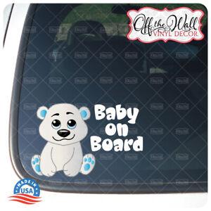 "Baby Boy Polar Bear ""BABY ON BOARD"" Sign Vinyl Decal Sticker for Cars/Trucks"
