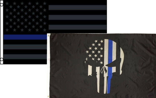 3x5 Wholesale Combo USA Demon Skull /& Thin Blue Line Tactical Black Out Flag