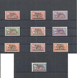 Memel-Litauen-Klaipeda-1922-Einzelmarken-aus-MiNrn-98-107-postfrisch