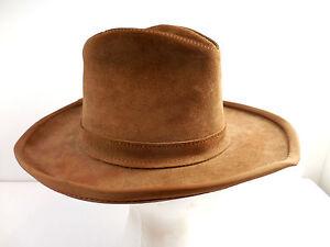 La foto se está cargando Vintage-Henschel-Skully-Gamuza-Marron-Cuero- Sombrero-De- 93094fa24f4