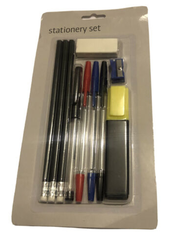 Stationary Set Pencils With Erasers And Pens Office School Craft Art Drawing