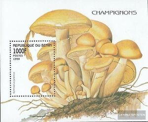 Never Hinged 1998 Mushrooms Vivid And Great In Style Benin Block37 Unmounted Mint Stamps