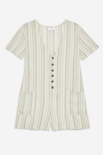 Topshop Lightweight Cream Grey Striped Button Front Playsuit Romper UK S RRP £26