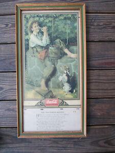 Coca-Cola Calendar 1932 Framed and Complete Old Oaken Bucket Norman Rockwell