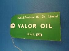 VALOR OIL TAG CARD CAR TRUCK ENGINE MCCOLL FRONTENAC OIL COM LIMITED