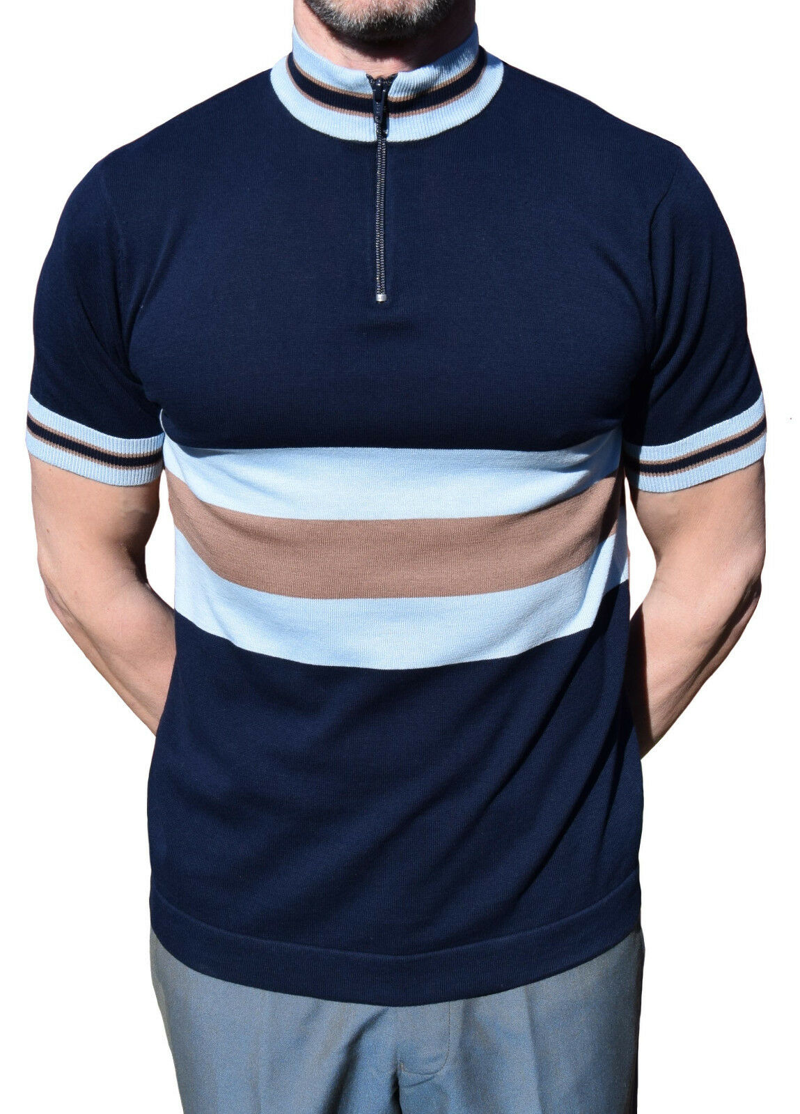 ART GALLERY CLOTHING NAVY Blau CYCLE TOP MOD CLOTHING 60'S RETRO NORTHERN SOUL