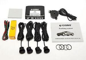 Parking Assistances CISBO 18mm Detachable Rear Reverse Parking Sensor 4 Sensors Kit Audio Buzzer Kit Metal Grey