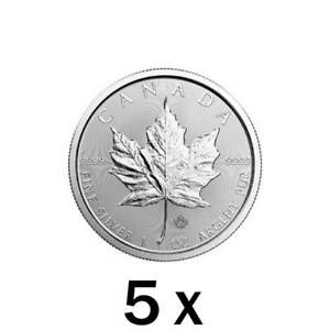 5 x 1 oz 2018 Silver Maple Leaf Coin RCM - Royal Canadian Mint