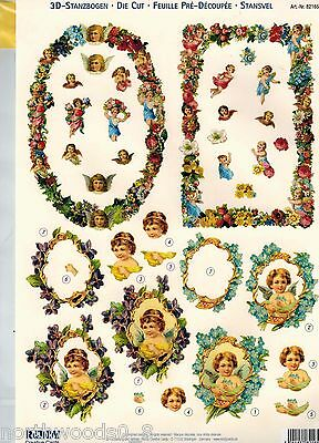 PRECUT SPRING FLORAL   PAPER TOLE DIMENSIONAL GERMANY CARD  ORNAMENT COLLAGE