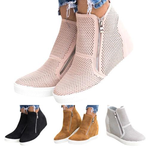 Damen Keilabsatz Stiefeletten Mesh Atmungsaktiv Schuhe Reißverschluss Ankle Boot