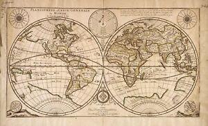 A4-ristampa-di-vecchie-mappe-1676-ristampa-Francese-Mappa-del-mondo-planisfero