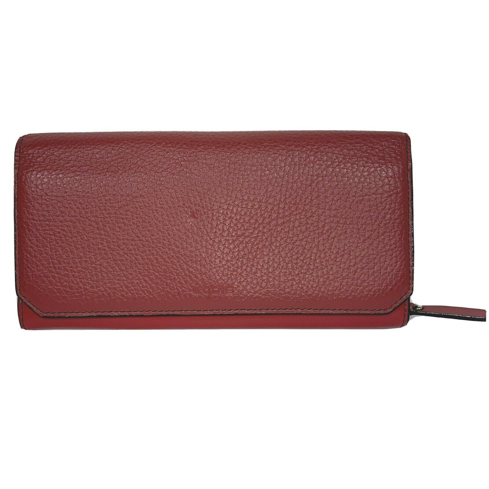 Lodis Wallet Red Genuine Leather Pebbled Envelope Checkbook Wallet 7.5 x 4 x .5