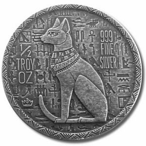 1-2-oz-999-Fine-Silver-Cat-Goddess-Bastet-Egyptian-Monarch-Mint-Relic-Coins-BU