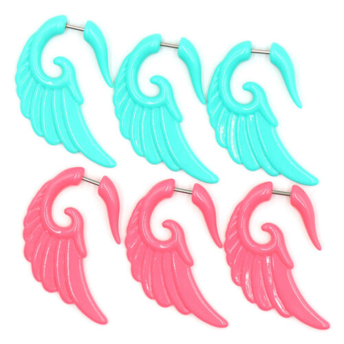 Pair Acrylic Fake Cheater Twist Spiral wing Ear Taper Gauges Expanders Earring