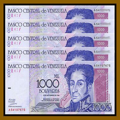 1998 P-83 Unc Bolivares x 5 Pcs Venezuela 50000 50,000
