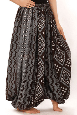 Tribal Belly dance  Block Print Assuit Harem Pants Black Silver Very Full