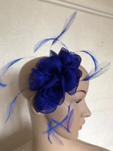 Small Royal Cobalt Blue Fascinator Hair Comb Wedding Ladies Race Day ... ed8bfde0517