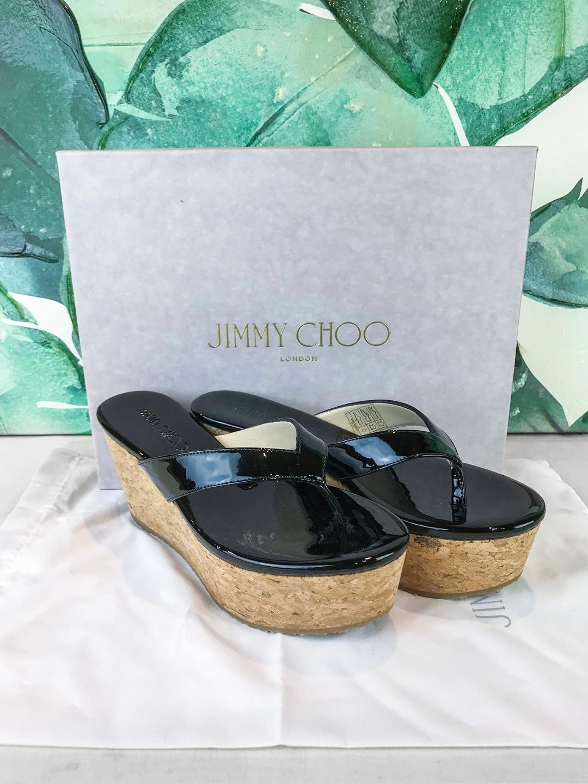 550 Jimmy Jimmy Jimmy Choo Paque Charol Negro Sandalias De Cuña De Corcho Talla 36  nuevo  venta  tienda de descuento