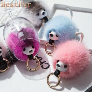 Cute Real Genuine Red Fox Fur Toy Doll Gift Keychain Keyring Bag Charm Car Phone Accessories