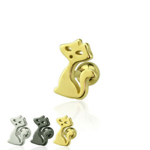 Tragus-Piercing-Helix-Piercing-Edelstahl-Ohr-Katze-Cat-silber-gold-schwarz-Damen