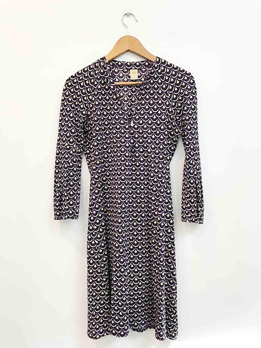 Designer Herion Vintage Stunning Größe 10 AU 42 IT Cotton Geometric Woherren Dress