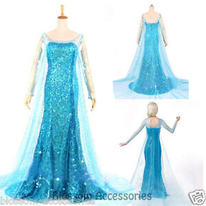 Image is loading K77-Adult-Womens-Frozen-Snow-Queen-Elsa-Costume-  sc 1 st  eBay & K77 Adult Womens Frozen Snow Queen Elsa Costume Cosplay Party Gown ...