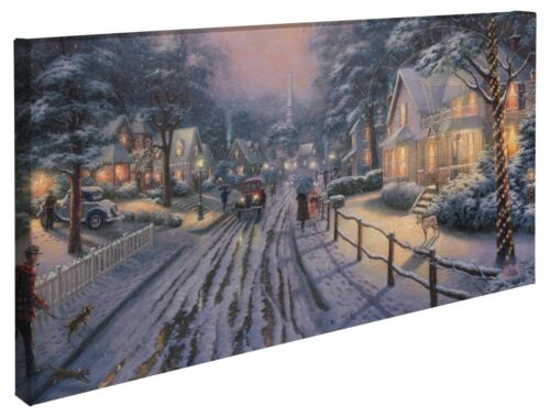 Thomas Kinkade Hometown Christmas Memories 16  x 31 Wrapped Canvas