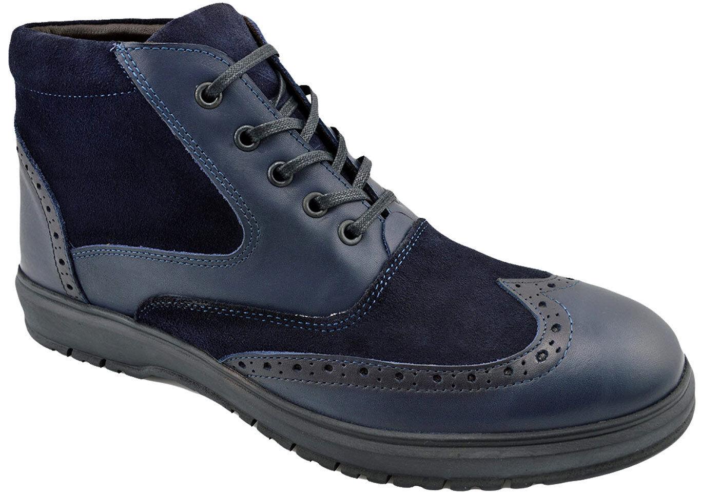 200 REACTOR Blau Leather Suede WINGTIP Brogue Ankle Stiefel Men schuhe