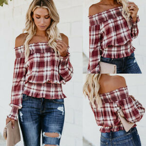 Womens-Long-Sleeve-Blouse-Off-Shoulder-Casual-Plaid-T-Shirt-Loose-Pullover-Tops