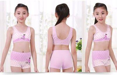 Puberty Girl Cotton Soft Bra+Pant Student Underwear Set Fasteners Brassiere