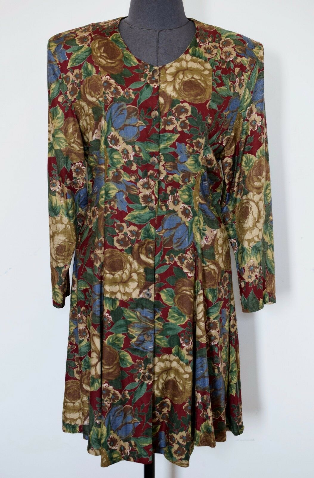 MASKIT Israel Vintage Button-Front Mini Dress Tunic Viscose Floral Print, Größe S