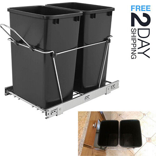 Pull Out Trash Garbage Can Waste Container Bin Rev-A-Shelf 35-Qt Double  Cabinet