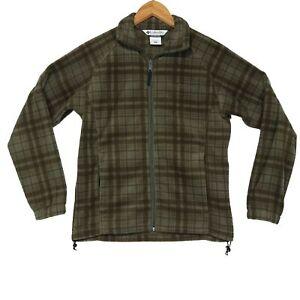Columbia-Women-039-s-Green-Plaid-Full-Zip-Fleece-Jacket-Size-Small