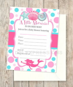 Image Is Loading Pink Mermaid Fill In Blank Baby Shower Invitations