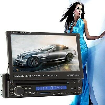 "7"" HD 1 DIN in Dash Car DVD Player Touch Screen Radio Stereo Bluetooth Ipod MP3"