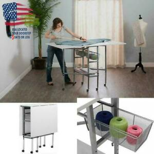 Craft Table With Storage Drawers Folding Sewing Machine Table White Accessories Ebay