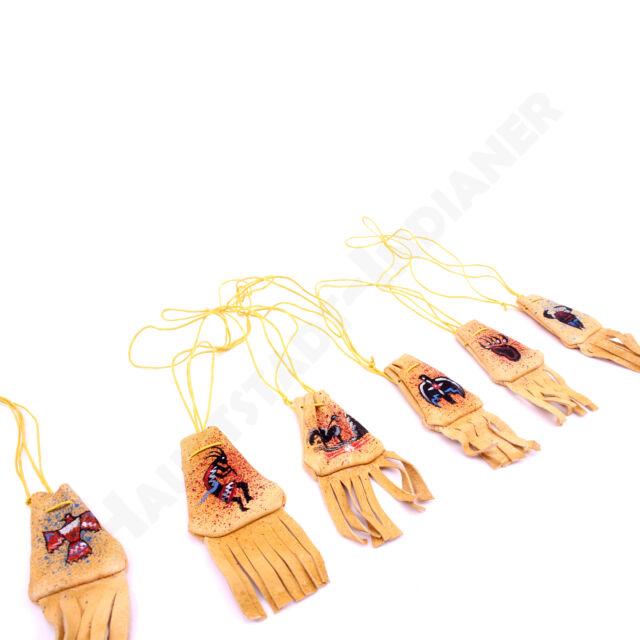 Medizinbeutel mit Handpainting verschiedene Motive aus beigem Leder Indianer
