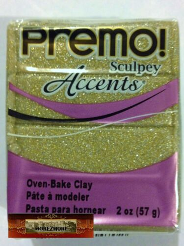 M00560 MOREZMORE Premo Accents Sculpey YELLOW GOLD GLITTER 2oz Clay A60