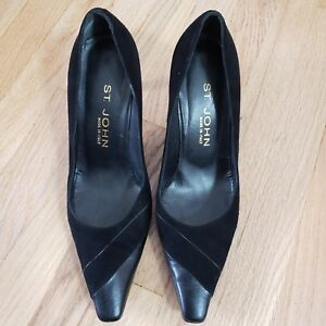 St-John-Womens-Shoes-Pumps-Black-Suede-Leather-Classic-Work-Italy-Size-8