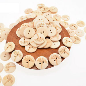 Home-Decoration-DIY-Patchwork-Wooden-Buttons-2-Holes-Sewing-Carved-Tree-Series