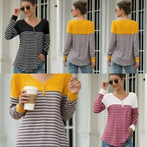 V-Neck-Top-Long-Sleeve-Pullover-Casual-Shirt-T-Shirt-Loose-Striped-Blouse-Womens