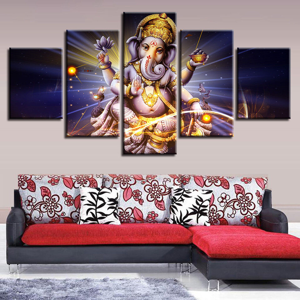 Hindu God Elephant Trunk Lord Painting 5 Panel Canvas Print Wall Art Home Decor