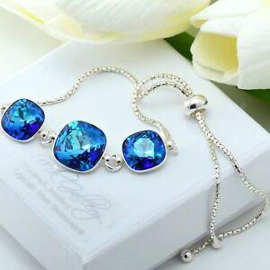 925-Silver-Adjustable-Bracelet-10-amp-12mm-Bermuda-Blue-Crystals-from-Swarovski